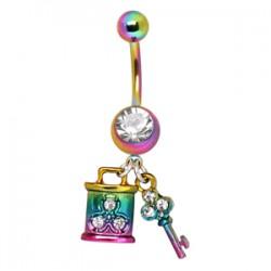 Piercing nombril plaqué-titane rainbow serrure et clé (D218)