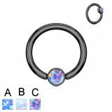 Piercing micro-bcr 139 - Black strass plat opale