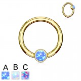 Piercing micro-bcr 140 - Gold-ip strass plat opale