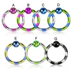 Piercing anneau 1,6mm 21 - PVD strié