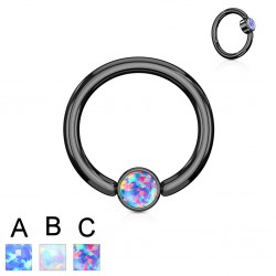 Piercing anneau 1,6mm 22 - PVD noir opale