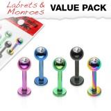 Pack de labrets 3 - PVD boule avec cristal