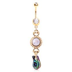 Piercing nombril plaqué-or 130 - Pierre pendante