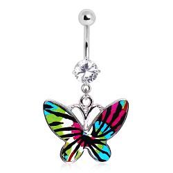 Piercing nombril papillon coloré traits noirs (24)