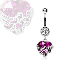 Piercing nombril coeur 22 - deluxe lilas
