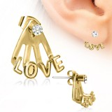 Piercing oreille original 25 - Gold IP love