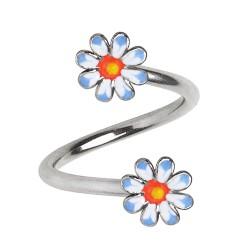 Piercing spirale 41 - Deux embouts fleurs