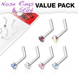 Pack de piercings nez 0.8mm 04 - Courbes zircones