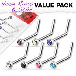 Pack de piercings nez 0.8mm 05 - Courbes strass