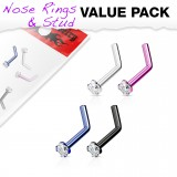 Pack de piercings nez 0.8mm 06 - PVD courbes zircones