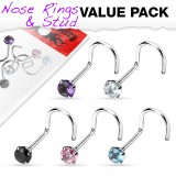 Pack de piercings nez 0.8mm 11 - Courbes zircones ronds