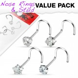 Pack de piercings nez 0.8mm 13 - Courbes transparents