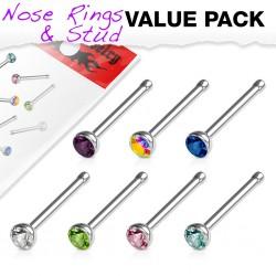 Pack de piercings nez 0.8mm 15 - Studs strass
