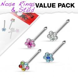 Pack de piercings nez 0.8mm 17 - Droits flower