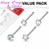 Pack de piercings nez 0.8mm 18 - Droits zircones transparents