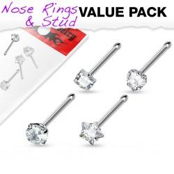 Pack de piercings nez 0.8mm 18 - Droits zircones transparents