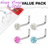 Pack de piercings nez 0.8mm 20 - Courbes férido