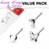 Pack de piercings nez 0.8mm 22 - Droits trois motifs