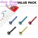 Pack de piercings nez 0.8mm 26 - Droits PVD domes