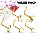 Pack de piercings nez 0.8mm 27 - Courbes motifs jaunes