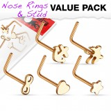 Pack de piercings nez 0.8mm 28 - Courbes motifs roses