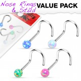 Pack de piercings nez 0.8mm 30 - Courbes boules opalite