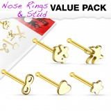 Pack de piercings nez 0.8mm 31 - Droits motifs jaunes