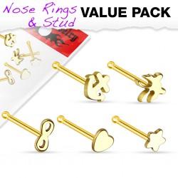 Pack de piercings nez 0.8mm 31 - Droits motifs jaunes