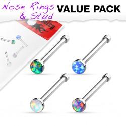 Pack de piercings nez 0.8mm 34 - Droit opalite