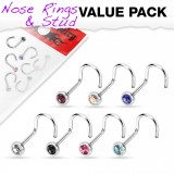 Pack de piercings nez 1mm 04 - Courbes B strass