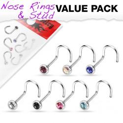 Pack de piercings nez 1mm 04 - Courbes B strass