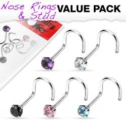 Pack de piercings nez 1mm 05 - Courbes zircones ronds