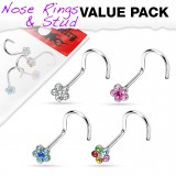 Pack de piercings nez 1mm 06 - Courbes flowers