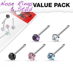 Pack de piercings nez 1mm 08 - Droits zircones ronds