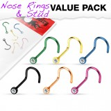 Pack de piercings nez 1mm 10 - Courbes PVD strass