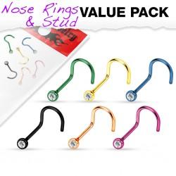 Pack de piercings nez 1mm 10 - Courbes PVD strass