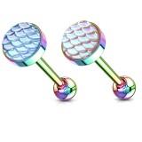 Piercing pour langue PVD 28 - Rainbow écailles