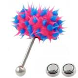 Piercing langue vibrant 04 - Silicone rose et bleu