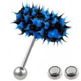 Piercing langue vibrant 05 - Silicone bleu et noir