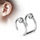 Faux Piercing oreille 03 - Double anneau bille