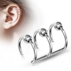 Faux Piercing oreille 04 - Triple anneau bille