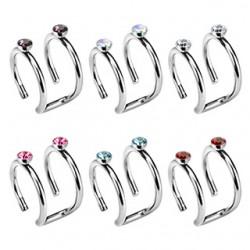 Faux Piercing oreille 10 - Double anneaux strass