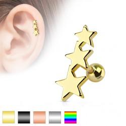 Cartilage hélix, tragus 51 - PVD étoiles