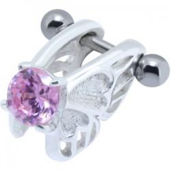 Piercing hélix 03 - Ange zircone rose