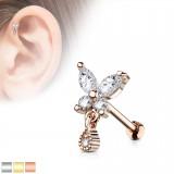 Cartilage hélix, tragus 379 - Papillon strass pendant