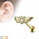 Cartilage hélix, tragus 378 - Coeur avec des ailes
