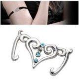 Bracelet en dentelle 07 - Coeur avec trois strass