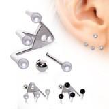 Piercing oreille original 21 - Trois perles