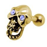 Cartilage hélix, tragus 342 - Crane plaqué-or