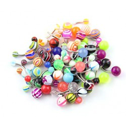 Lot de 25 piercings pour nombril acryliques
